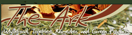 The Ark Logo and hompage link. The Ark Wholefoods, Toiletries, Remedies and Green Products